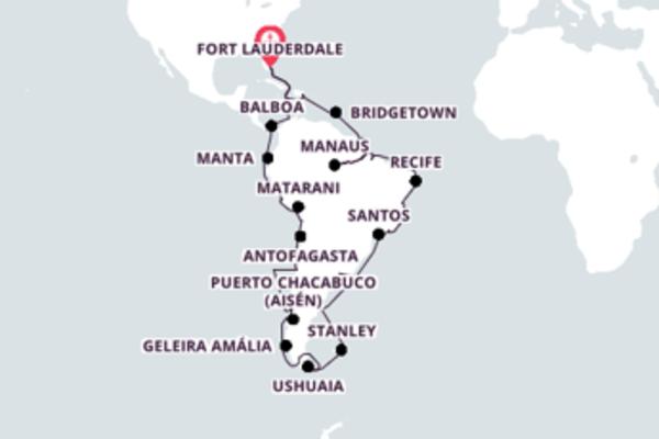 Sublime cruzeiro de 75 dias até Fort Lauderdale