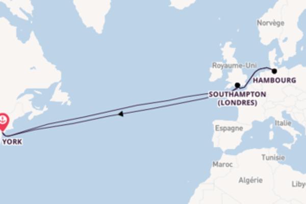 Admirez à bord du bateau Queen Mary 2, la destination: Southampton (Londres)