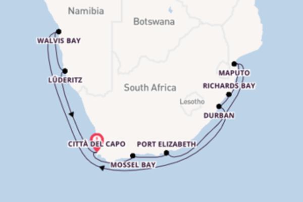 Fare rotta verso Richards Bay a bordo di Seven Seas Voyager