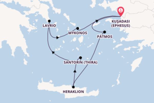 Wunderschöne Kreuzfahrt über Lavrio ab Kuşadası (Ephesus)