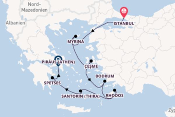In 8 Tagen nach Piräus (Athen) über Santorin (Thira)