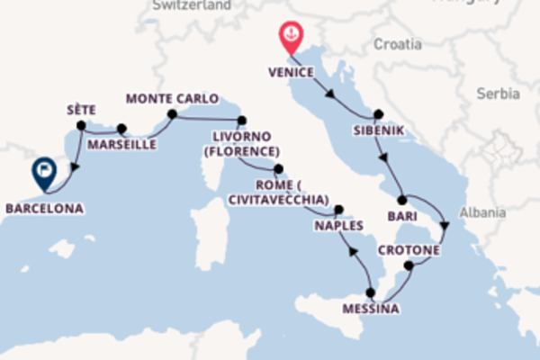15 day voyage from Venice to Barcelona