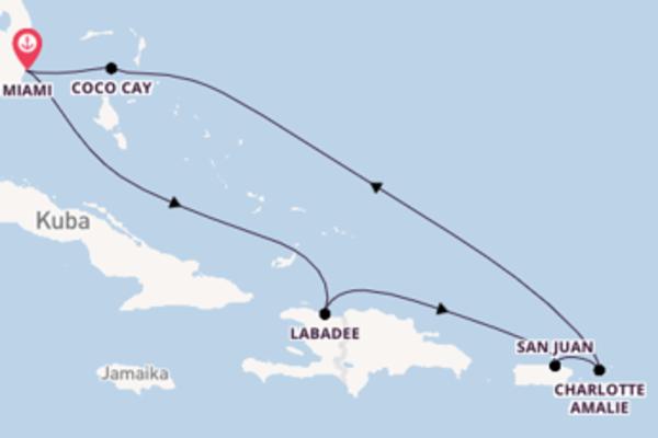 Wunderschöne Kreuzfahrt über Charlotte Amalie ab Miami