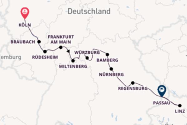 11-tägige Kreuzfahrt von Köln nach Passau