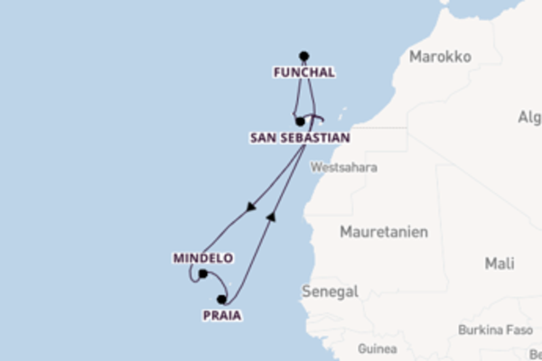 Wunderbare Kreuzfahrt über Mindelo nach Santa Cruz de Tenerife