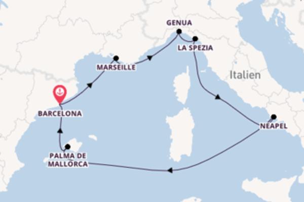 Faszinierende Kreuzfahrt über La Spezia nach Barcelona