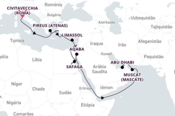 A bordo do Norwegian Dawn em um cruzeiro de 22 dias