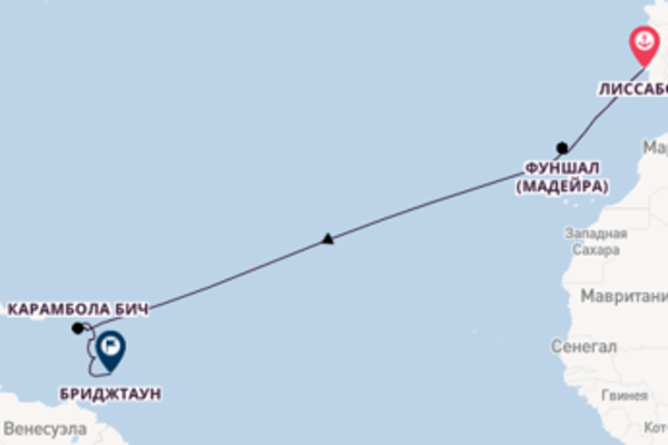 Лиссабон, Карамбола Бич, Бриджтаун на Seabourn Ovation