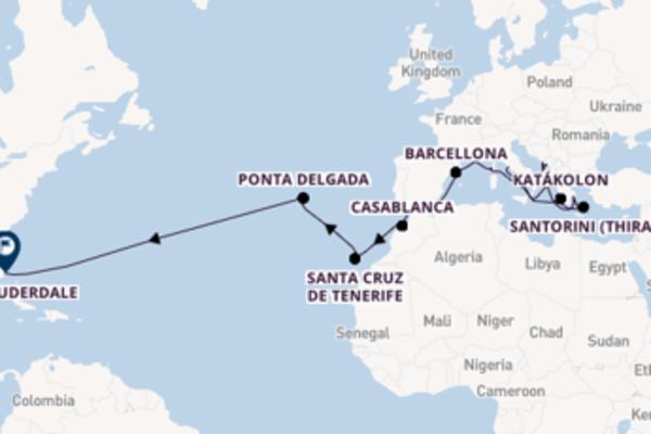 Navigando da Civitavecchia verso Santorini (Thira)