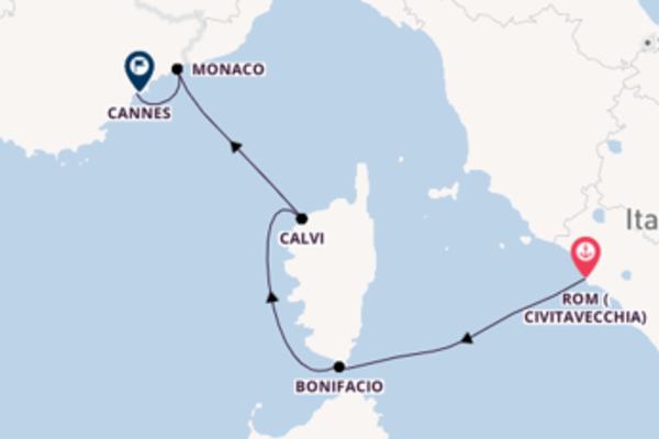 In 5 Tagen nach Cannes, Frankreich über Bonifacio, Frankreich