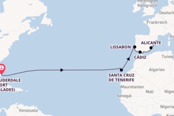 Von Fort Lauderdale (Port Everglades) über Cádiz in 15 Tagen