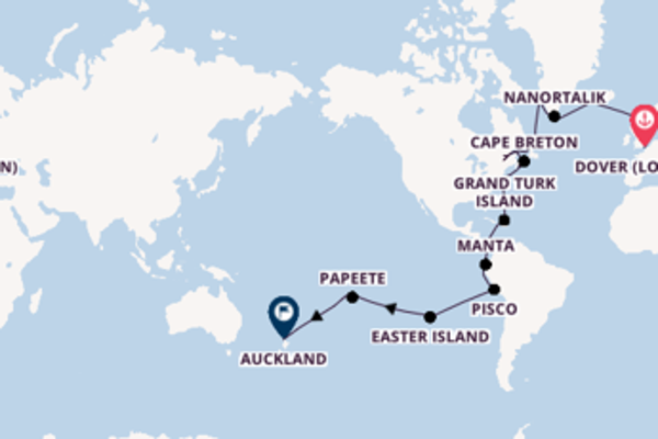 54 day voyage to Auckland, New Zealand from Dover (London), England, United Kingdom
