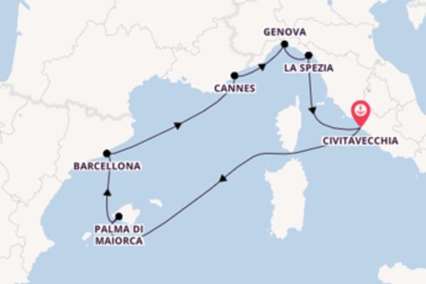 8 giorni verso Civitavecchia passando per Barcellona