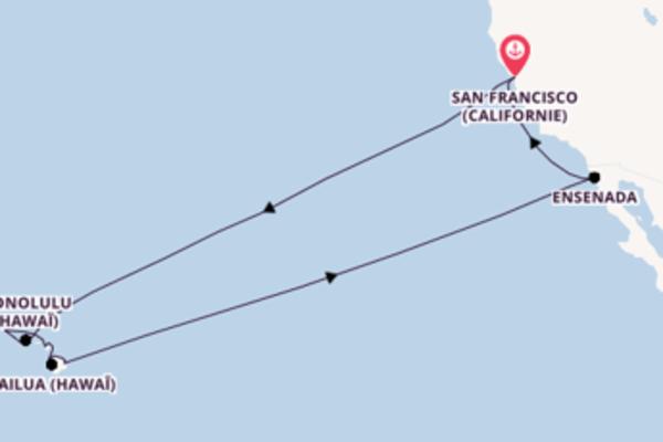17 jours de navigation à bord du bateau Carnival Miracle vers San Francisco (Californie)