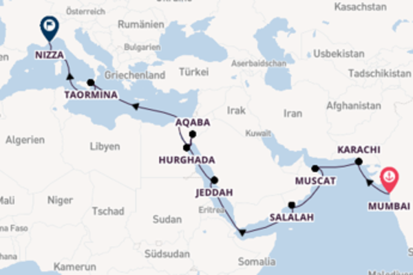 Sonnige Aussichten zwischen Indien, Arabien und dem Mittelmeer