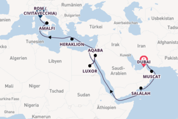 21-tägige Kreuzfahrt von Dubai nach Civitavecchia (Rom)
