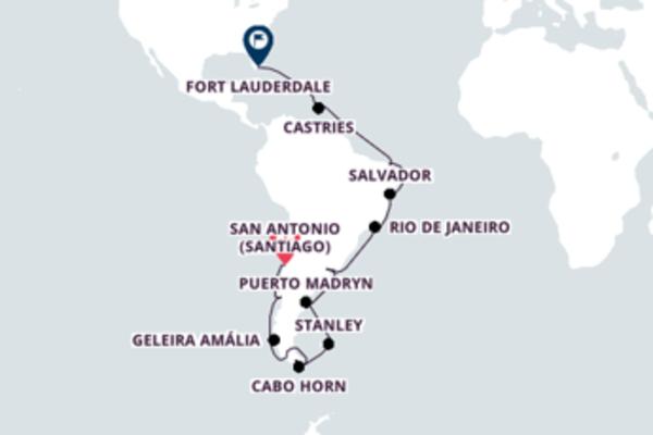 Jornada de 32 dias até Fort Lauderdale com o Coral Princess
