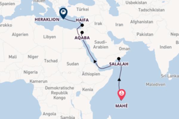 18-tägige Kreuzfahrt von Mahé nach Heraklion