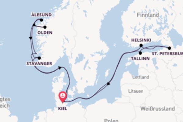 Erkunden Sie 15 Tage St. Petersburg und Kiel