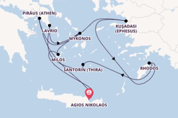 Großartige Kreuzfahrt über Piräus (Athen) nach Agios Nikolaos