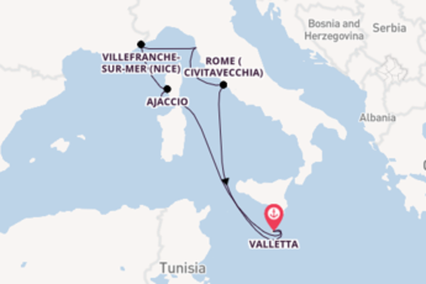 Sailing from Valletta via Ajaccio