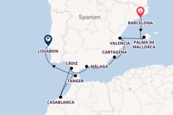 Begeisternde Kreuzfahrt über Tanger nach Lissabon