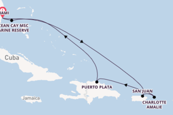 8 day cruise with the MSC Seashore to Miami