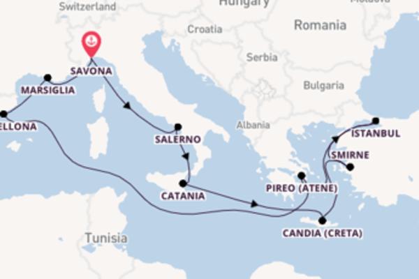 Incredibile viaggio di 15 giorni verso Candia (Creta) a bordo di Costa Diadema