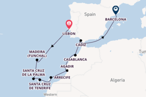 11 day voyage on board the Riviera from Lisbon