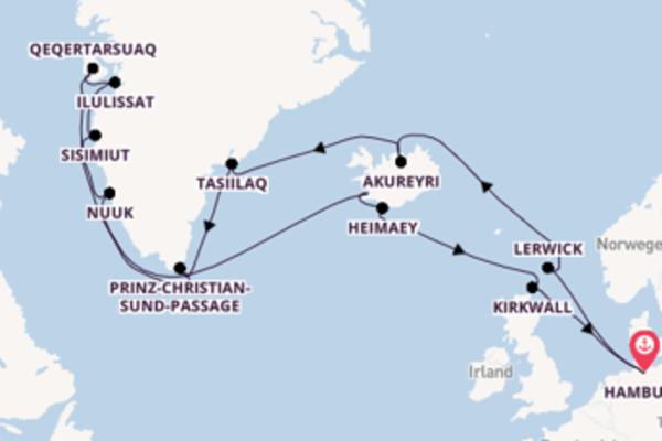 Höhepunkte der Ost- und Westküste Grönlands