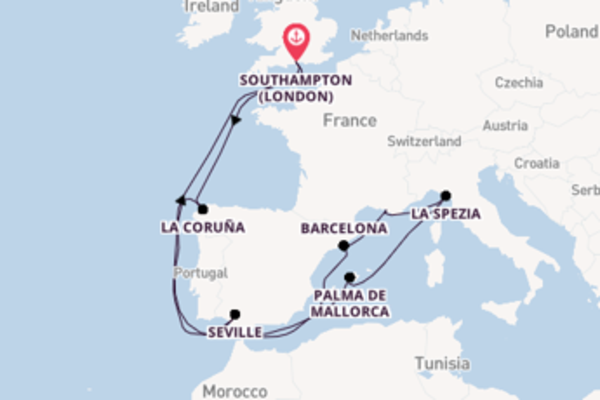 Journey with P&O Cruises from Southampton (London)
