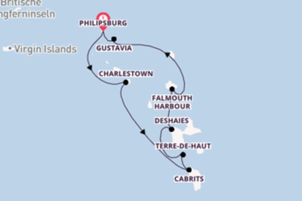 Karibikkreuzfahrt entlang der Leeward Inseln
