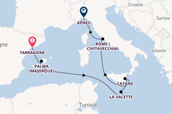 La Valette, depuis Tarragone à bord du bateau Costa Pacifica