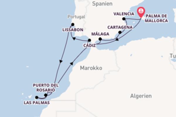 In 14 Tagen nach Palma de Mallorca über Lissabon