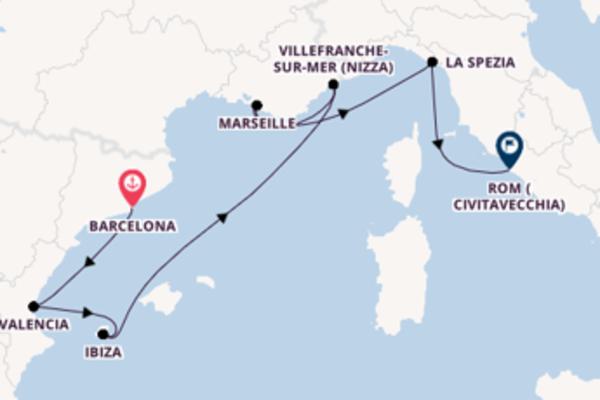 Von Barcelona über Villefranche-sur-Mer (Nizza) in 8 Tagen