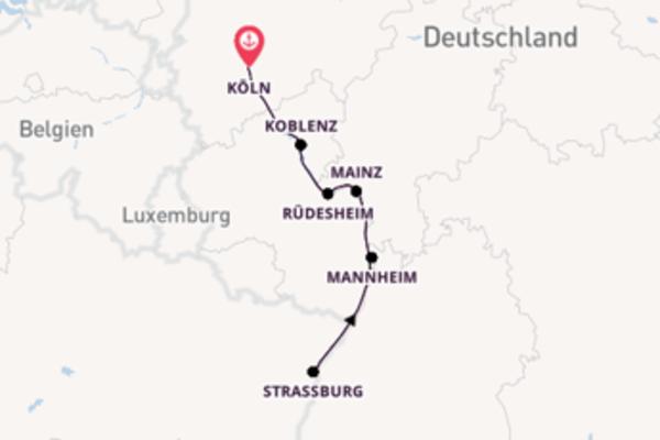 Beeindruckende Kreuzfahrt über Rüdesheim nach Köln