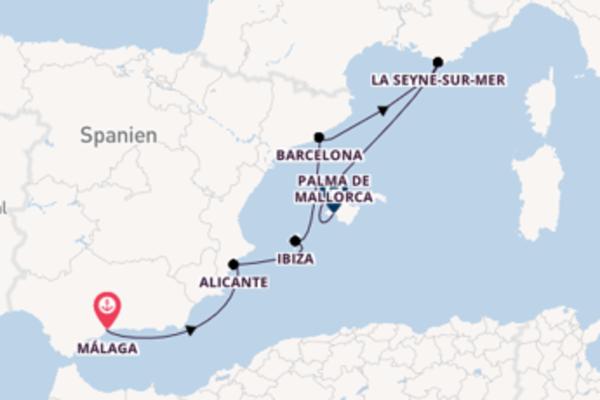 Traumhafte Kreuzfahrt über Alicante ab Málaga
