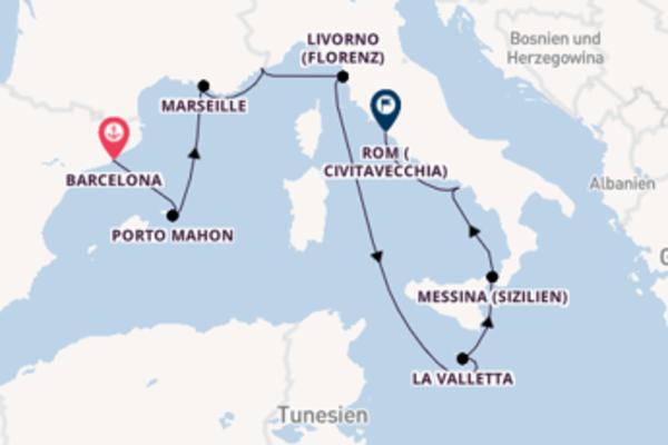 Von Barcelona über Messina (Sizilien) in 11 Tagen