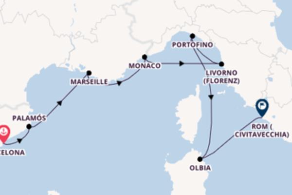 Herrliche Kreuzfahrt von Barcelona nach Rom (Civitavecchia)