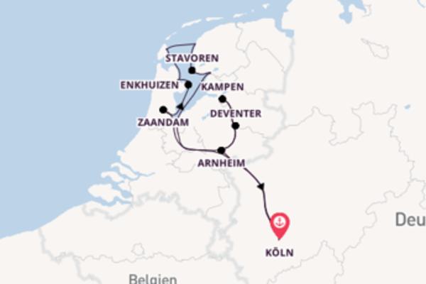 8-tägige Kreuzfahrt bis Köln