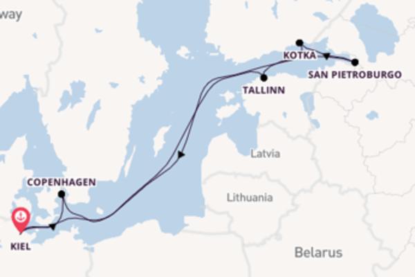 Viaggio da Kiel verso San Pietroburgo