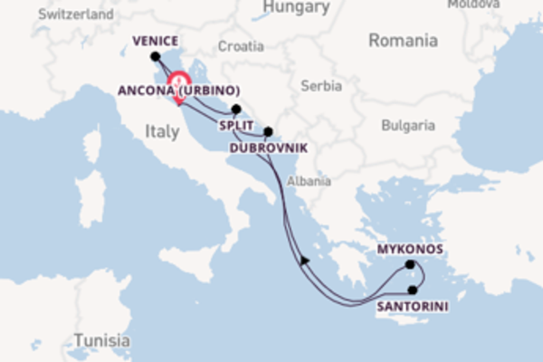 Sailing from Ancona (Urbino) with the MSC Lirica