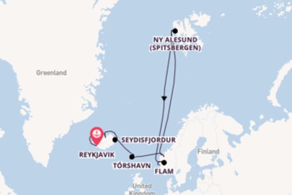 Cruising to Bergen from Reykjavik
