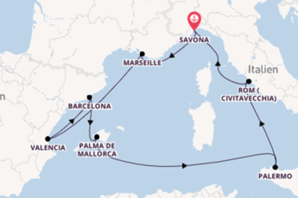 Zauberhafte Reise ab Savona