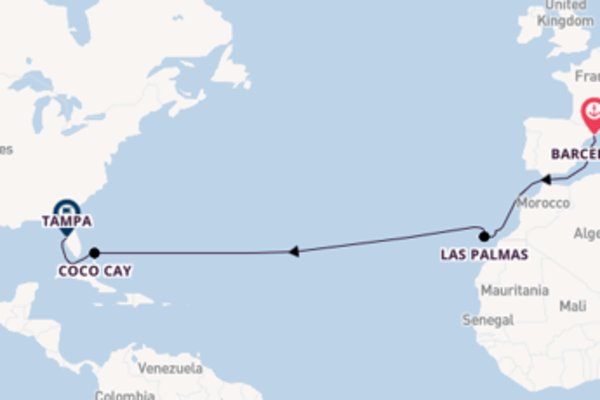 15 day cruise to Tampa, Florida from Barcelona