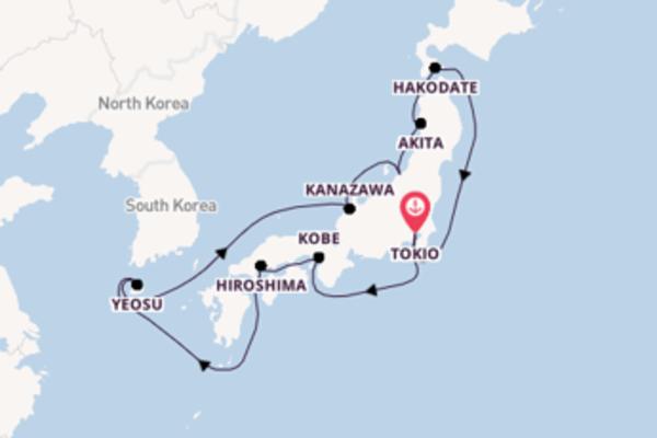 14-daagse droomcruise vanuit Tokio