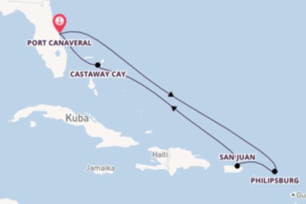 Von Port Canaveral über Philipsburg in 8 Tagen