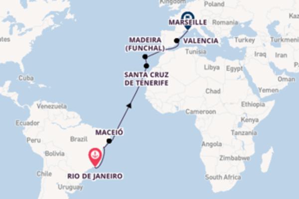 Cruise from Rio de Janeiro to Marseille via Santa Cruz de Tenerife