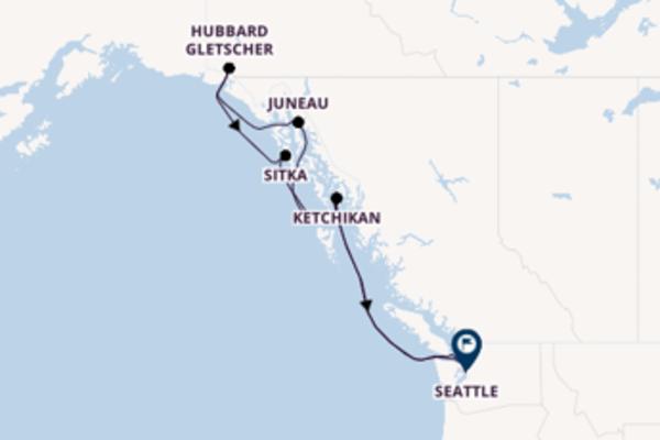 Kreuzfahrt mit Eurodam von Puget Sound nach Seattle
