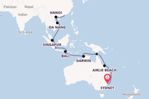 Kreuzfahrt mit Queen Elizabeth von Sydney nach Hongkong
